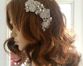 Rhinestone Crystal Headpiece, Bridal Rhinestone Headpiece,  Wedding Crystal Headpiece