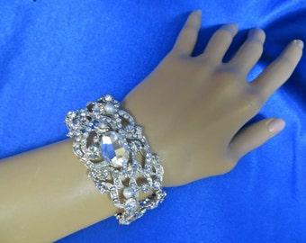 Rhinestone  Bridal Bracelet, Beaded  Crystal Cuff, Wedding Bridal Bracelet, Brides  Ribbon Bracelet,  Wedding Ribbon Bracelet