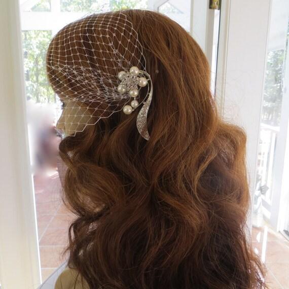 Bandeau Birdcage Veil, Wedding Blusher Veil, Rhinestone Bridal Veil, Bandeau Bridal Veil
