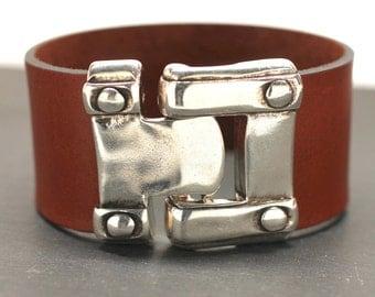 Wide Leather Bracelet Riveted Hook Bracelet Mens Bracelet Statement Bracelet Silver Cuff Gift For Dad Man Him Jewelry Under 50