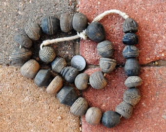 Antique Mali Clay Beads: 20x25mm