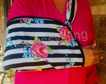 Black & White Stripe/ Floral Adult Arm Sling