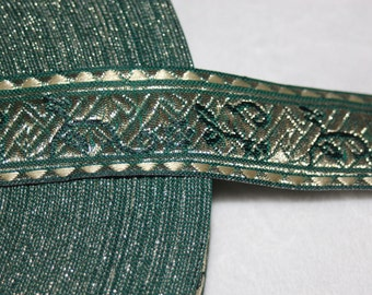 """2 yards Forest Green metallic gold JACQUARD Brocade reversible woven sewing craft ribbon Trim 1.25"""" wide"""