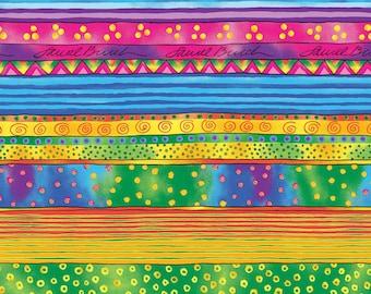 Dog and Doggies Light Gold Border Stripe - Laurel Burch - Clothworks - 1 short yard - Last Available