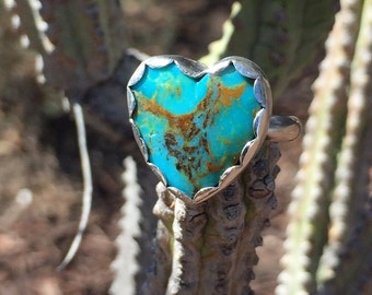 Sweet Heart- Turquoise Heart Ring/ Kingman Turquoise Ring/ Heart Shaped Ring/ Size 7 Ring/ Gifts for Her/ Holiday/ Personalized Ring