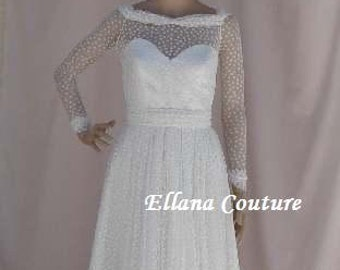 Monica - Polka Dot Vintage Inspired Wedding Dress. Knee Length.