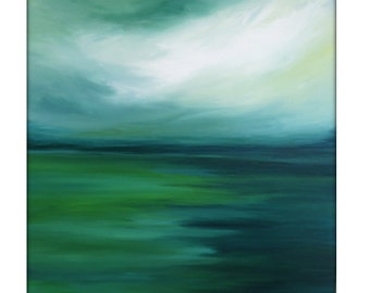 Large Abstract Painting on Canvas Modern Acrylic Skyline- 36x36-Greens, Yellows, Blues