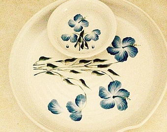 Ceramic chip and dip, pottery chip and dip, wild blue flowers with green leaves, seperate bowl for dips, large bowl can be used for serving.