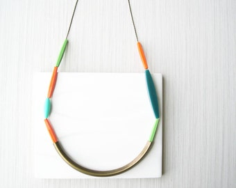 Brass Statement Necklace, Trendy Jewelry, Multi Color, Turquoise, Aqua, Simple, Orange, Green, Teal, Blue, Modern, Beaded, Crescent, Long