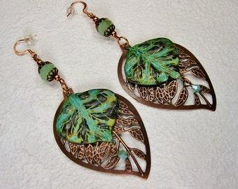 ANTIQUE COPPER VERDIGRIS Dangle Drop Earrings / Leaf Earrings / Statement Earrings / Large Earrings / Copper Earrings - BeaUTy In LeaVeS
