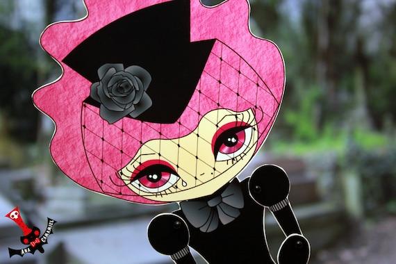 Black widow paper doll Von Lorbeer assembled articulated