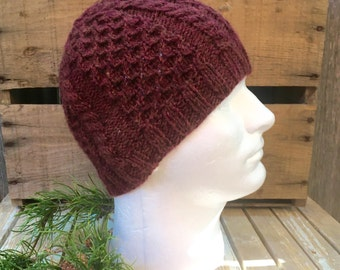Men's Cable Knit Beanie, Men's Knit Hat, Knitting Hat, Knitting Beanie, Cable Knit Hat, Cable and Honeycomb, Chili Pepper Red, Dark Orange
