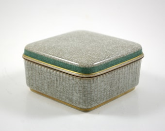 Thorkild Olsson and Nils Thorsson for Royal Copenhagen Craquelure and Gold Leaf Trinket Box