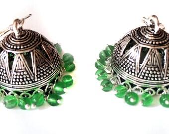 Silver Jhumkas Earrings,Ethnic tribal jewelry, green  jhumkas,Indian silver Jewellery,handmade Kucchi Jewelry by Taneesi