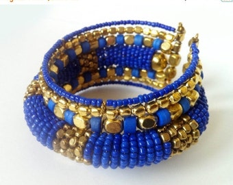 CLEARANCE SALE GOLD Cuff bracelet ,Blue beaded Cuff Bracelet,Dark blue bracelet ,Womens bracelet ,Gift for her, gold bracelet Taneesi