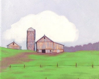 Pink on Green, Hillside Barn, Oil Painting, Wall Art, Home Decor, Mothers Day Gift, Nursery Decor