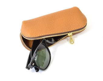 Tan Brown Leather Glasses Sunglasses Case Handmade Pouch Wallet