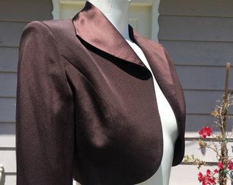 Brown Silk Cropped Short Bolero Jacket Rhinestone Sleeve Accent JOVANI NY