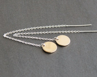 Threader Earrings - Gold-Filled 9mm Circles / Discs on Sterling Silver Chain - Mixed Metals