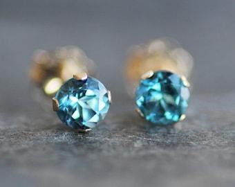 London Blue Topaz Stud Earrings in 14K Solid Gold Setting -4mm Gemstones - Small Post Earrings
