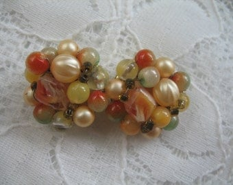Vintage Cluster Earrings ~ Clip On ~ Peach ~ Lime ~ Yellow Plastic Beads
