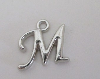 Initial Letter M - Silver Capital Letter M - English Alphabet Pendant - Custom Name Bead - Personalized Jewelry - 7 Pcs - Add On Initial Tag