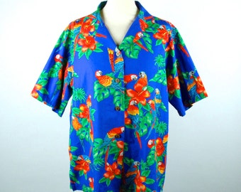 Hawaiian Style Parrot Shirt by Benny's, Large, 100% Cotton