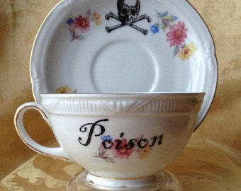 Poison Skull Altered Vintage Tea Cup and Saucer Spring Flowers