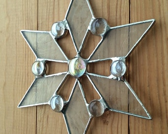 Stained glass snowflake ornament
