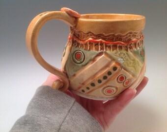 Mug/orange mug/unique mug/ceramic mug/pottery mug/coffee mug/orange pottery/tea cup/handmade mug