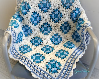 """Crochet BABY BLANKET AFGHAN Lap Granny Squares Soft Warm New Gift  35"""" x 30"""" White Turquoise Blue"""