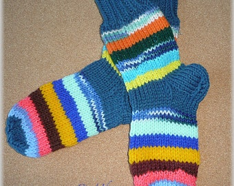 Hand knitted SOCKS WOMENS size 7-8 Leg Warmers Slippers Soft Warm happy socks