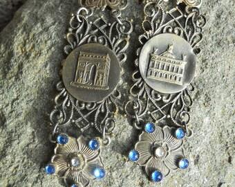 Paris in Spring    Vintage Assemblage Earrings Paris Rhinestone Flowers