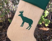 Burlap Holiday Stocking, Custom Woodland Burlap Christmas Stocking with Applique;  Design your own