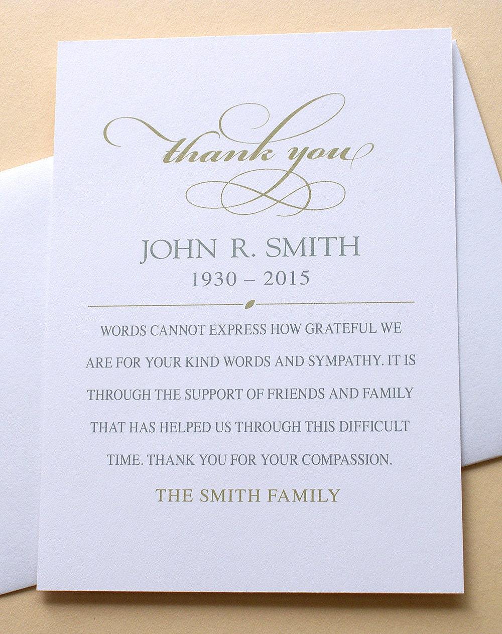 simple elegant thank you sympathy cards custom flat cards