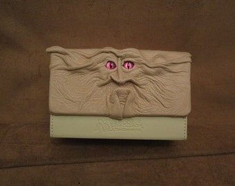 Grichels leather Magic the Gathering double deck box - cream with custom metallic mauve purple slit pupil eyes