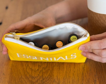 Essential Oils Pouch in Yellow with Waterproof Liner