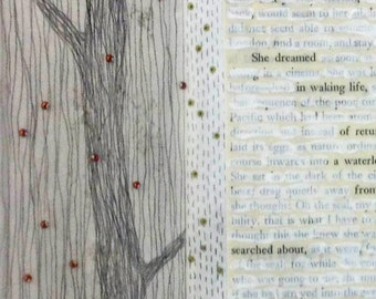 Mixed Media on Paper Freestanding Found Text Poem with Drawing / Quietly She Dreamed
