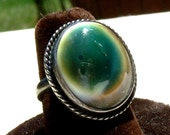 Reserved for Layla Operculum Shell Sterling Silver Ring Shiva Eye Unusual Vintage Size 6.5