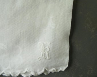 Vintage Monogram Guest Towel, shamrock, runner, tea towel, Damask, cotton, K