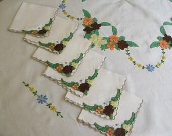 Vintage Applique Tablecloth, Napkins, set, ivory, fall colors, square