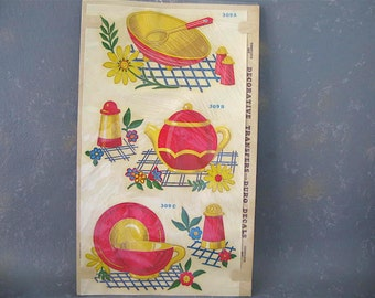 Vintage Kitchen Decals, 50s, Duro, red, yellow, blue, teapot decal, salad bowl decal