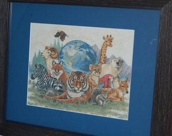 "ANIMALS UNITE - ""Completed and Framed Cross Stitch"""