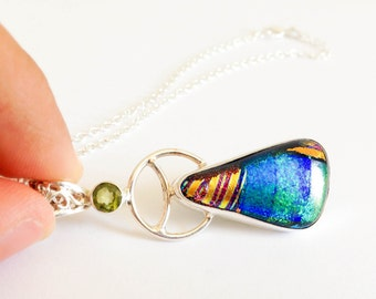 Dichroic glass jewelry sterling silver Peridot jewelry peridot necklace Dichroic glass necklace colorful gemstone jewelry silver modern
