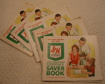 vintage lot of five (5) 'S & H' Green Stamps quick saver books . . from the 1950's . . overall very good condition