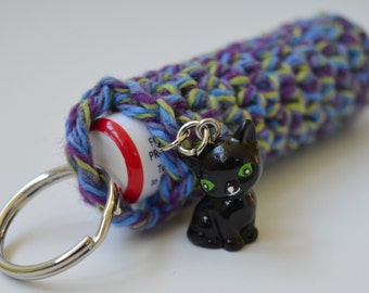 Crochet Chapstick Holder Keychain with Cat Charm