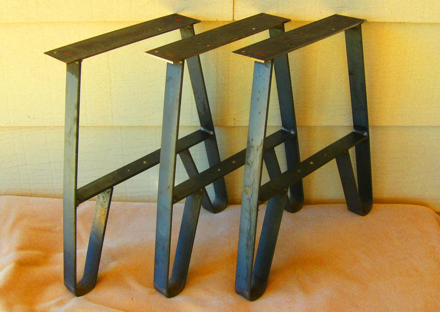 3 metal twin legs for long benches group seating garden. Black Bedroom Furniture Sets. Home Design Ideas