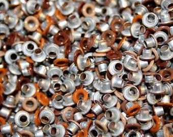 Brown Eyelets, 1/8 inch, Brown Variety, Scrapbooking, 200 Eyelets, Round Metal, Eyelets, Brown Round, Scrap Booking, 1/8 Brown Eyelet, Light