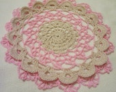 crocheted doily orchid pink and ecru home decor handmade in USA original design