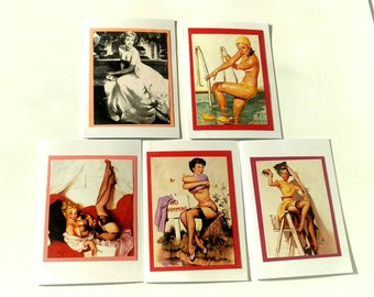 Pin Up Girl Cards, Set of 5 Blank Cards.